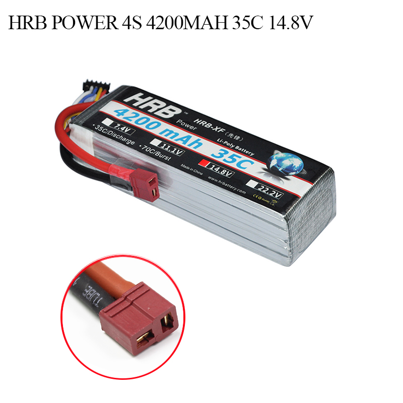 HRB RC Lipo 4S 14.8V Battery 4200mAh 35C Burst 70C For Drone AKKU Battery Helicopters Models Car Boat Quadcopters Airplane UAV xxl high power 3300mah 14 8v 4s 35c max 70c 4s1p akku lipo rc battery for trex 500 helicopter page 8