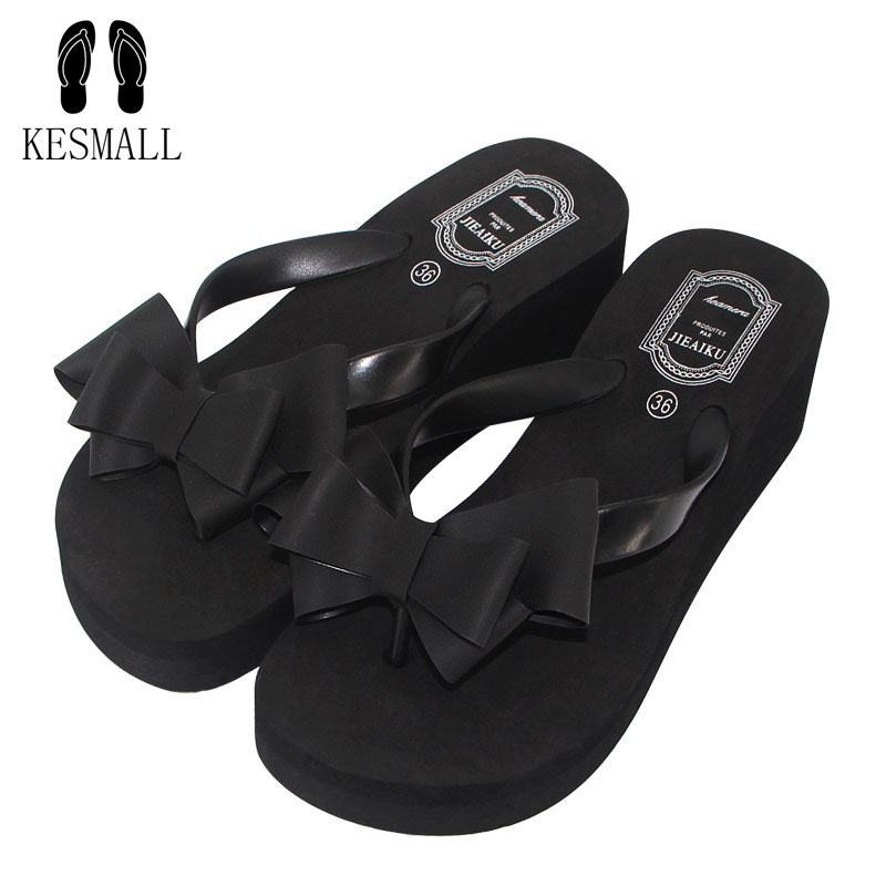 PVC Butterfly-knot Slippers Women Home Slippers Rubber Solid Wedges Med Flip Flops 2017 Women Summer Sandals Ladies Shoes WS3 senza fretta slippers women flip flops butterfly knot sandals shoes high heel wedges flip flops beach women shoes cool sandals