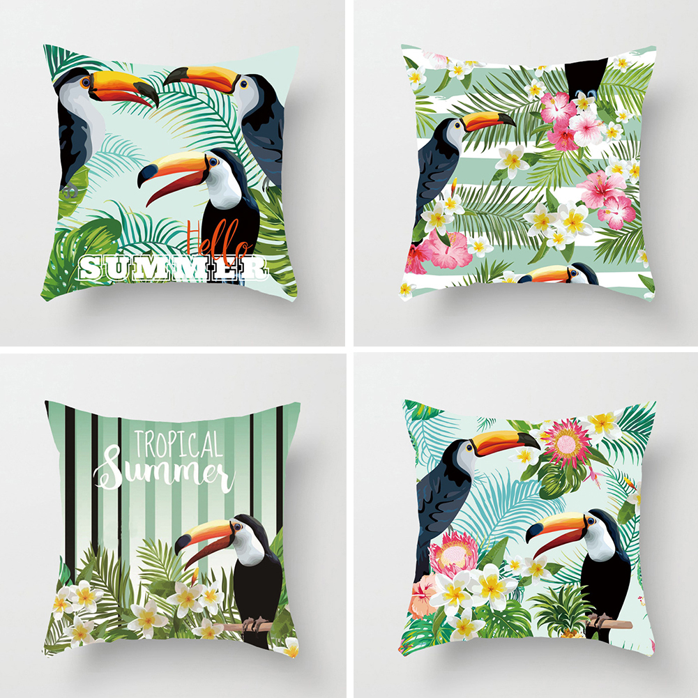 Lovely Toucan Leaves Square Throw Pillow Case Cushion Cover Home Sofa Cafe Decor