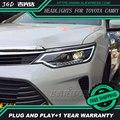 Бесплатная доставка стайлинга Автомобилей LED HID Рио СВЕТОДИОДНЫЕ фары Голову лампы для Toyota Camry 2015 2016 Би-Ксеноновые Линзы низкой луч