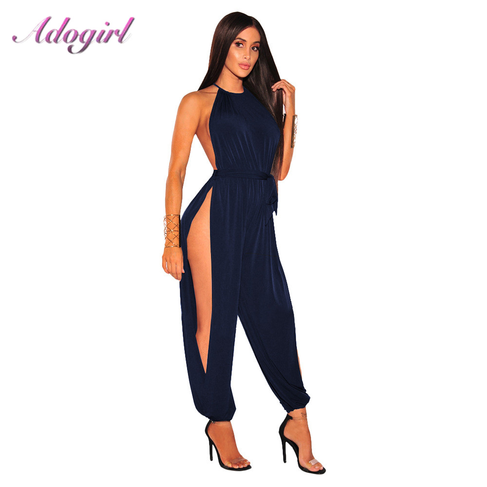 Sexy Solid Halter Bandage Off Shoulder Outfits Jumpsuit Women Casual Sleeveless Streetwear Loose Rompers Night Party Overalls