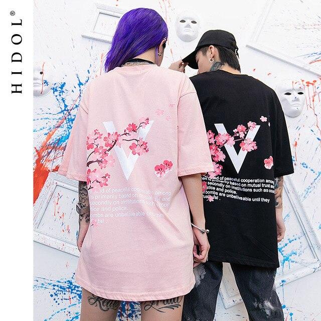 0d0fe3e1 Oversize T-shirt Ins Flower Letter Print Short Tee Loose Big Plus Size Hip  Hop Swag T shirt Men High Street Tshirt Black/Pink
