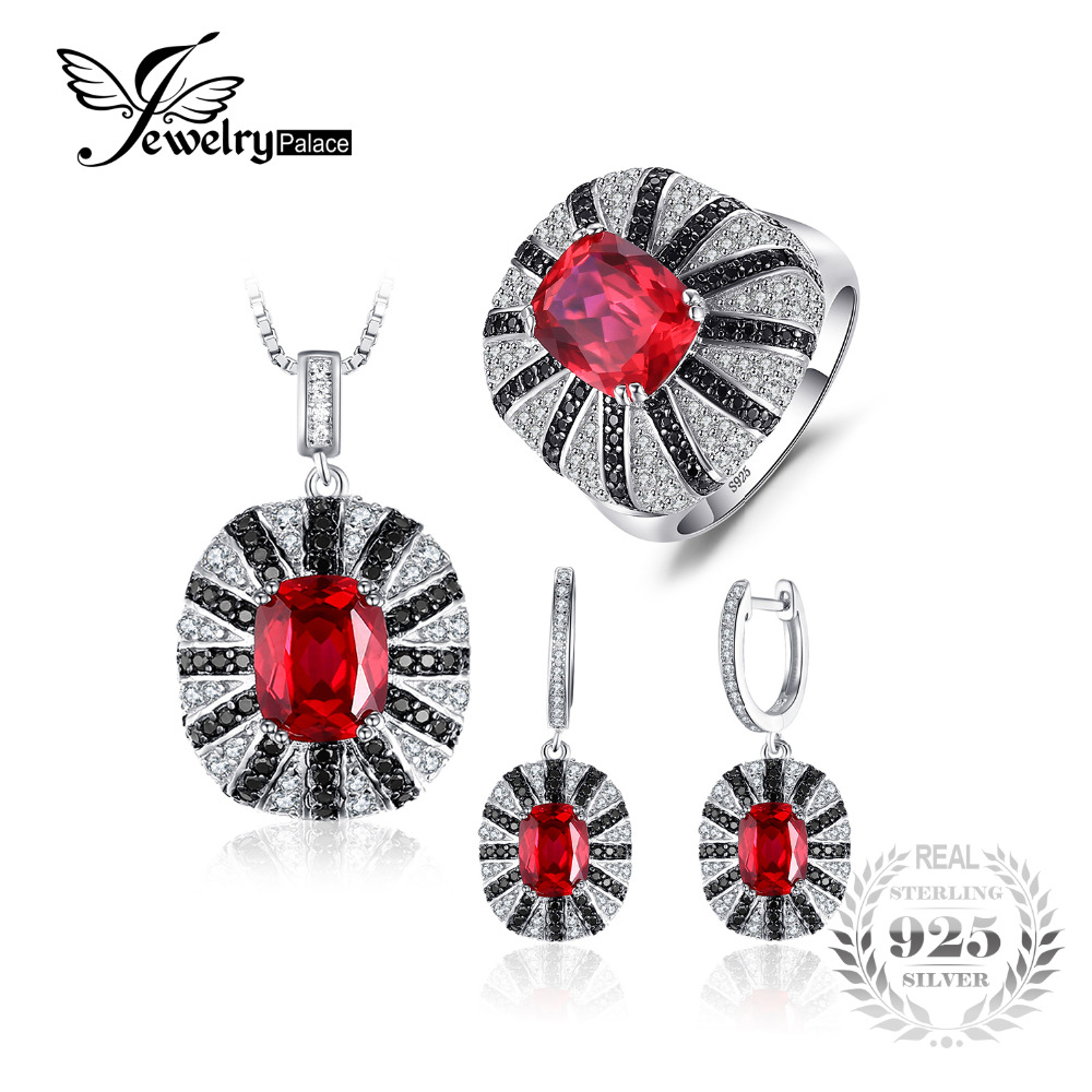 Jewelrypalace Luxury Created Ruby Spinel Jewelry Set 925 Sterling Silver Ring 45cm Pendant Earring Clip Bridal Jewelry Set rhinestone faux ruby pendant jewelry set