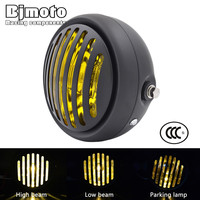 BJMOTO Universal LED 6 1 2 Motorcycle Retro Grill Headlight Hi Lo Headlamp For Harley Chopper