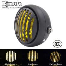 BJMOTO Universal 6 1/2″ Motorcycle Retro Grill Headlight Hi/Lo Headlamp For Harley Chopper/Bobber/Cafe Racer/Touring Bikes