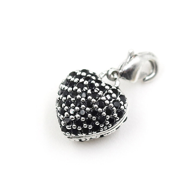 Authentic 100% Real 925 Sterling Silver Heart Charm with Rhinestone, Thomas Style Jewelry Club Gift for Women TS C267