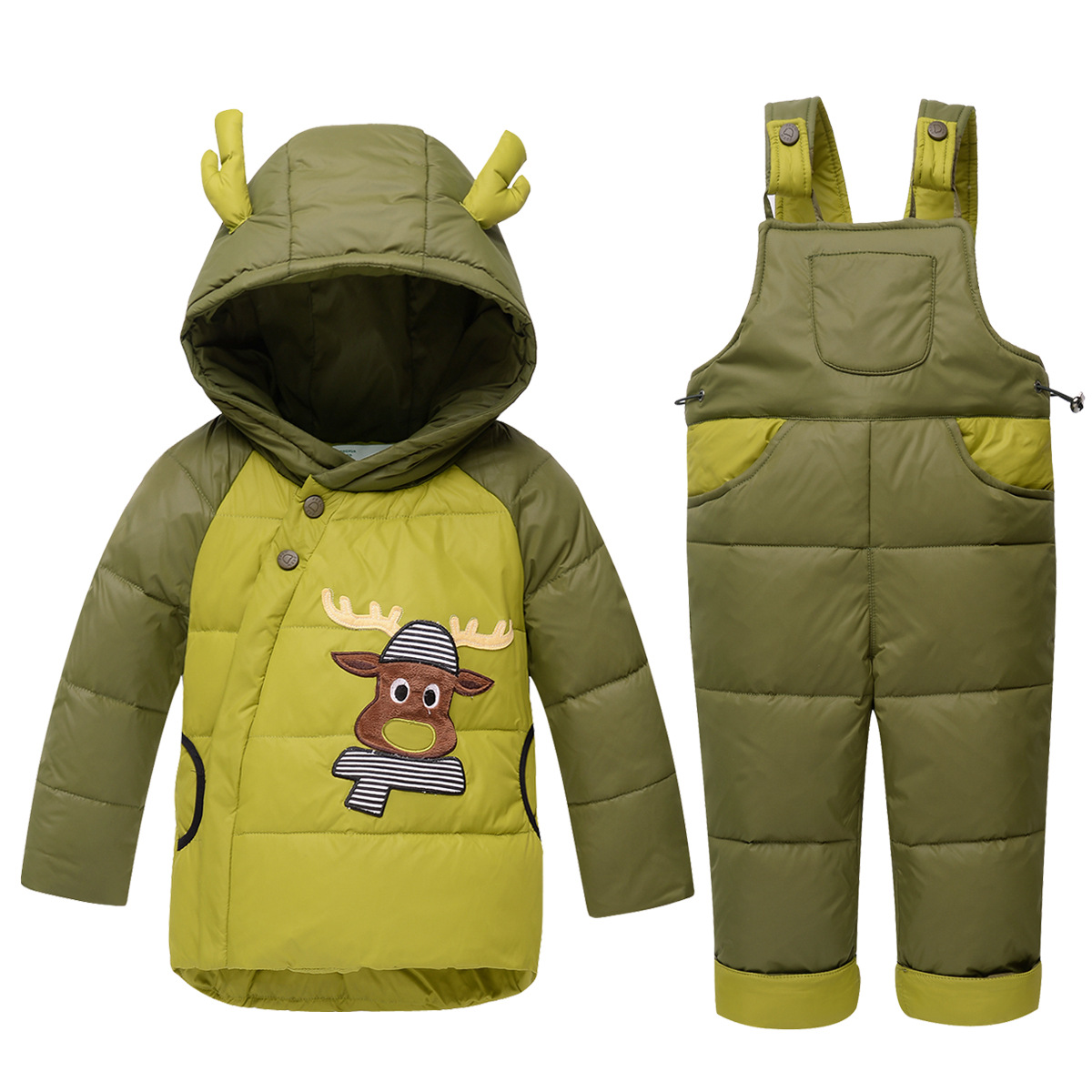 Mioigee Baby Children Boys Girls  Thick Coat+Jumpsuit Baby Clothes Set Kids Jacket Animal Deer Winter Warm Down Jacket Suit Set new 2017 winter baby thickening collar warm jacket children s down jacket boys and girls short thick jacket for cold 30 degree