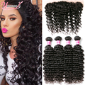 Brazilian Deep Wave With Frontal Closure 4 Bundle Brazilian Virgin Hair With Closure Deep Wave Lace Frontal Closure With Bundles