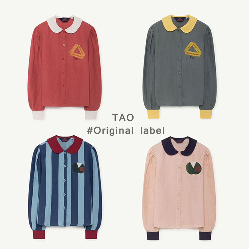 BBK Pre-sale TAO Kids long sleeve T-shirt Tops Boys Shirt Vintage lapel striped shirt top Girls Tee Autumn Children Clothes C* цены