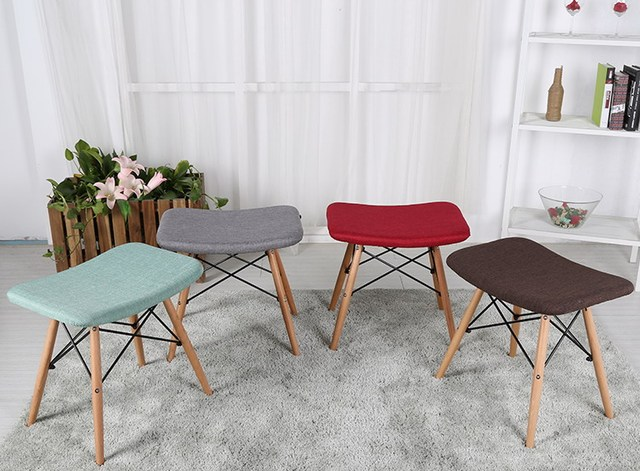 Modern Design Home Living Room Side Stool Soft cover padded wooden ...