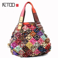 AETOO Women Messenger Bags Genuine Leather Patchwork Flowers Diamond Flower Crossbody Bag Large Shoulder Bags Large