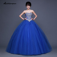 Sweetheart Tulle Floor Length Beads Sequins Ball Gown Royal Blue Quinceanera Dress Prom Dresses