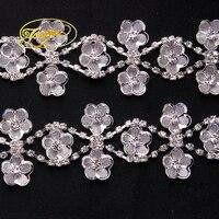 1 Yard Top Grade Crystal AB Glass Wide Rhinestone Cup Chain Silver Base Trim Applique Sew