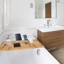 Modern Wooden Bamboo Bath Tub Tray Bathtub Storage Rack Shelf Organizer Holder bathroom shelf