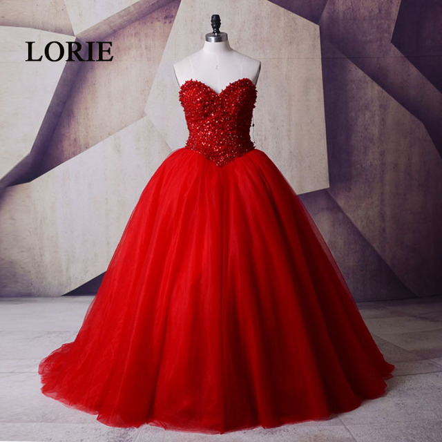535c6217029 LORIE Luxury Prom Dress Red beaded With Stones Sweetheart Ball Gown  Victorian Gothic Masquerade quinceanera vestidos de 15 anos