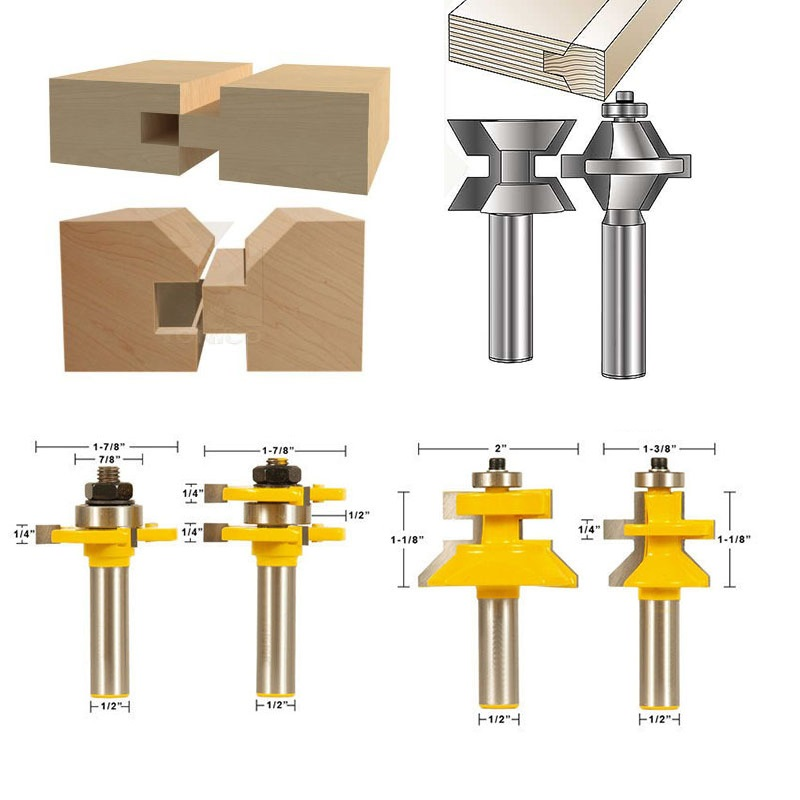 4PCS Double Tongue  Groove Joints Router Bit Set 1/2-Inch Shank Mortise Knife Woodworking Puzzle Board Cutter 2pcs tongue