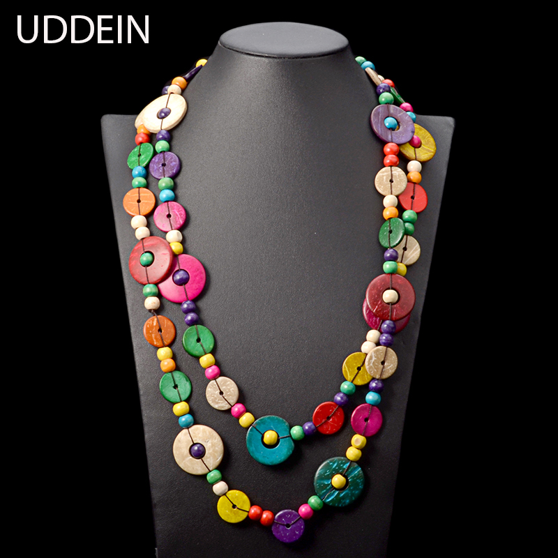 UDDEIN Bohemia Long Necklace Women Handmade Wood Statement Necklace & Pendant Vintage Party Jewelry Exaggerated Accessories
