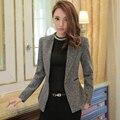 Fashion Casual Wear Winter Jacket Long Sleeve Notched Collar Coat Feminine Gray Women Blazer Clothing Ladies Vogue Top