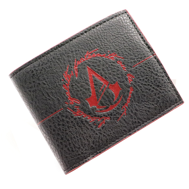 Assassin s Creed PU leather short wallet man double folding wallet brown  quick shipping man credit card bag 8507f2a3902a