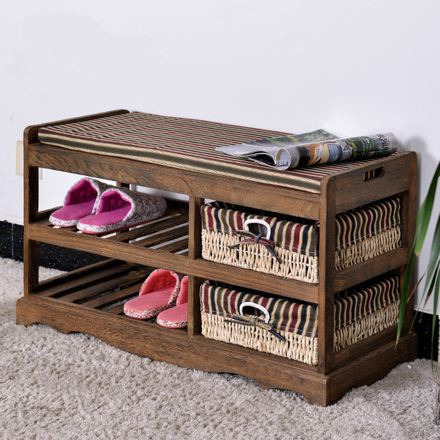 Wooden Shoe Rack With Two Storage Basket Paulownia Solid Wood Bench Living Room Furniture Anese Style