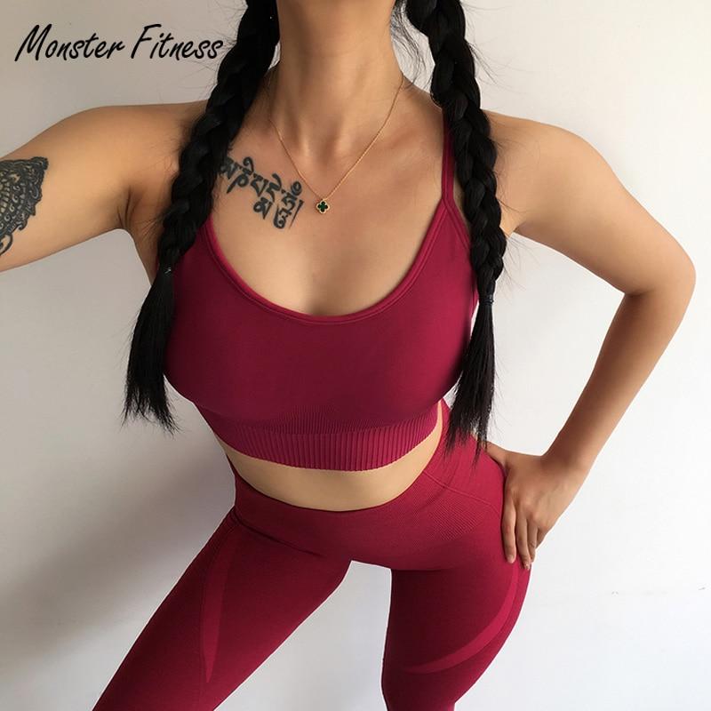 2018 mujeres sin costura Sujetador deportivo para Fitness Gym Yoga Running almohadilla recortada Top Tank Tops ropa deportiva deportes Seamless Bra mujeres