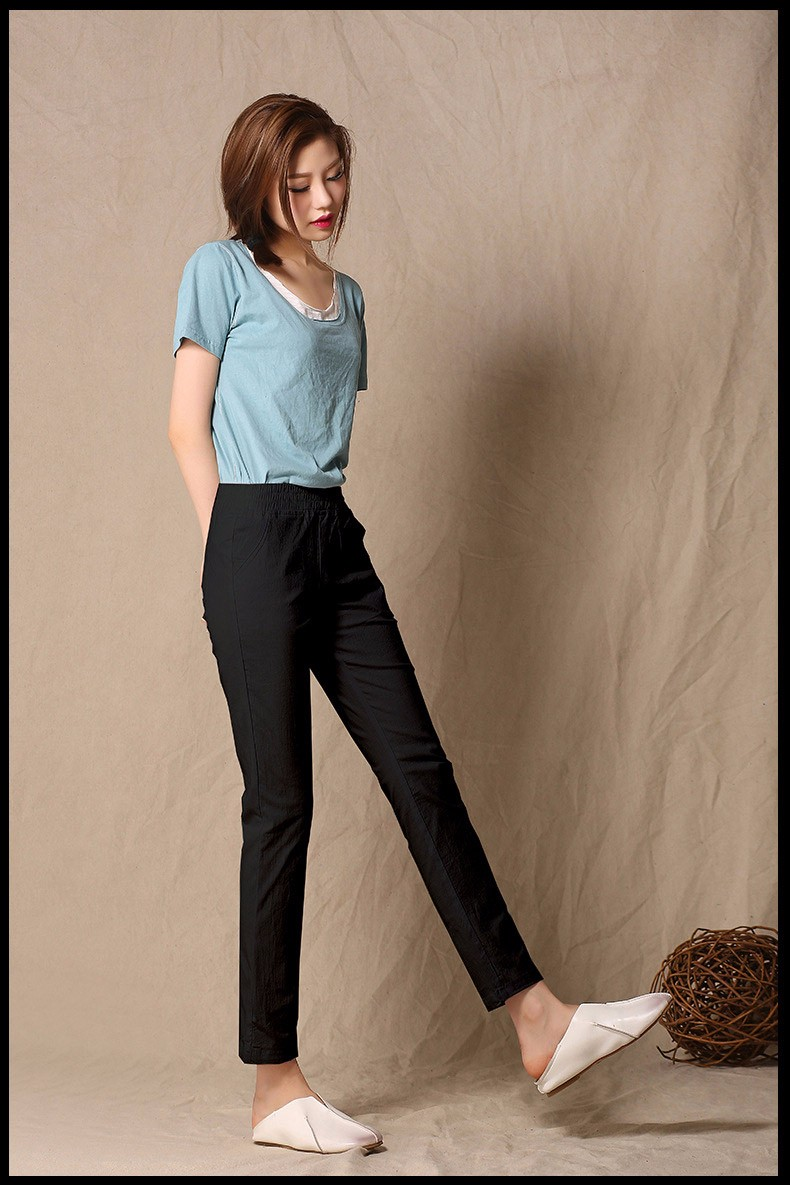 Women Ankle Length linen pants casual pencil pants sport pants Slim solid spring summer autumn trousers for women plus size A375 h