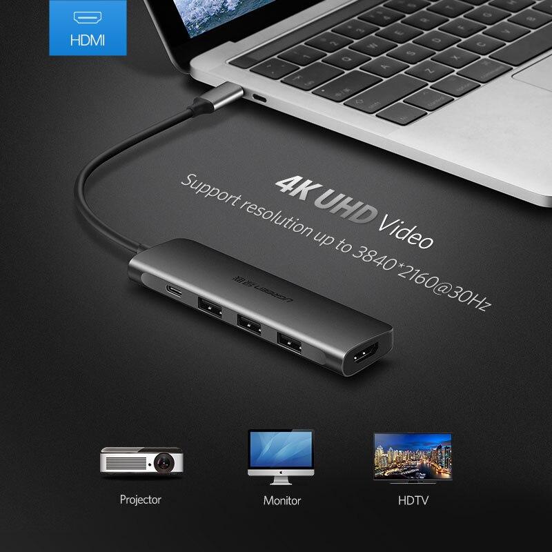 Ugreen USB C HUB USB-C to 3.0 HUB HDMI Thunderbolt 3 Adapter for MacBook Samsung Galaxy S10 Plus Huawei P30 Pro Type C USB HUB