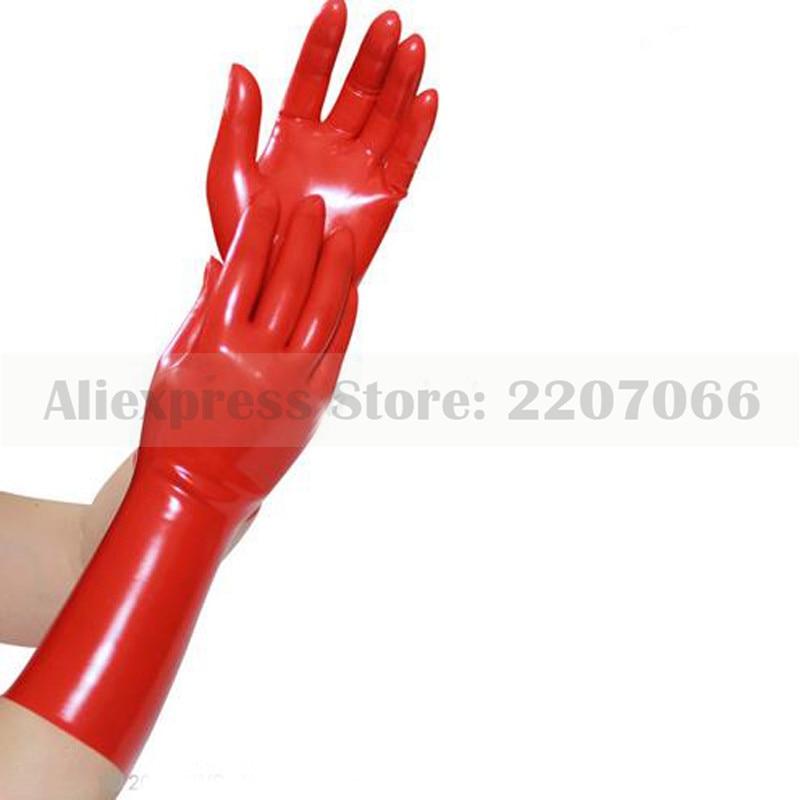 Venda quente sexy cor vermelha sem emenda sólido preto borracha látex fetiche luvas curtas rlm033