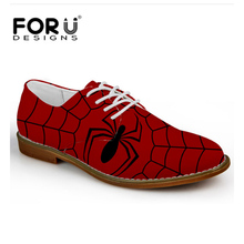FORUDESIGNS New Men' Leather Shoe Casual Flats Lace-up Shoes Spider Oxford Shoes For Men Teenage Boys Oxfords Shoe Zapatos Homme