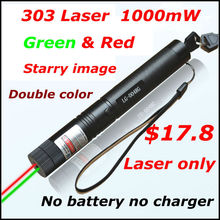Big discount [RedStar]303 double color Laser only high power 1W red & green laser pointer starry image without 18650 battery and charger 305#