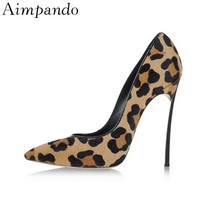 Sexy Spring 2019 Leopard High Heel Shoes Woman Metal Stiletto Heel Pointy Toe Shallow Shoes Luxury Horsehair Pumps Women