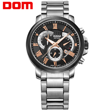 DOM fashion leather sports quartz watch for man military chronograph wrist watches men army style M506