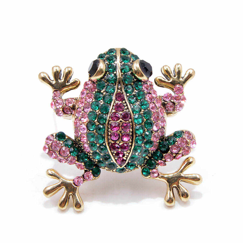 Young Tulip Colorful Crystals Frog Brooches For Women Fashion Rhinestone Animals Dress Needles Accessory Crafts Badge Jewelry