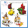 Mini Qute Lele Brother Anime One piece Thousand Sunny Going Merry plastic building blocks cartoon model figures educational toy