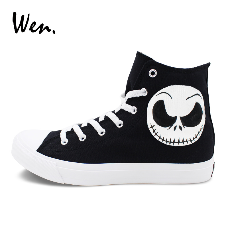 Wen Design Custom Hand Painted Shoes Nightmare Before Christmas Jack  Skellington Painting Canvas Sneakers Unisex Plimsolls-in Men s Vulcanize  Shoes from ... 4a74aae3a285