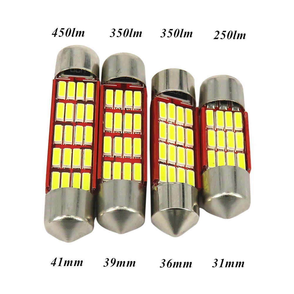 WLJH 2x Canbus LED Light Bulb C5W C10W 31mm 36mm 39mm 41mm SV8.5 4014SMD Auto Led Lamp Car Interior Dome Map License Plate Light