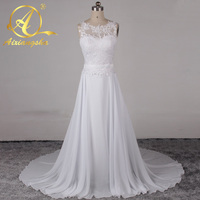 Boho Style Lace Top White Chiffon Beach Wedding Dresses Backless Bride Dress Gowns 2016 Two Piece