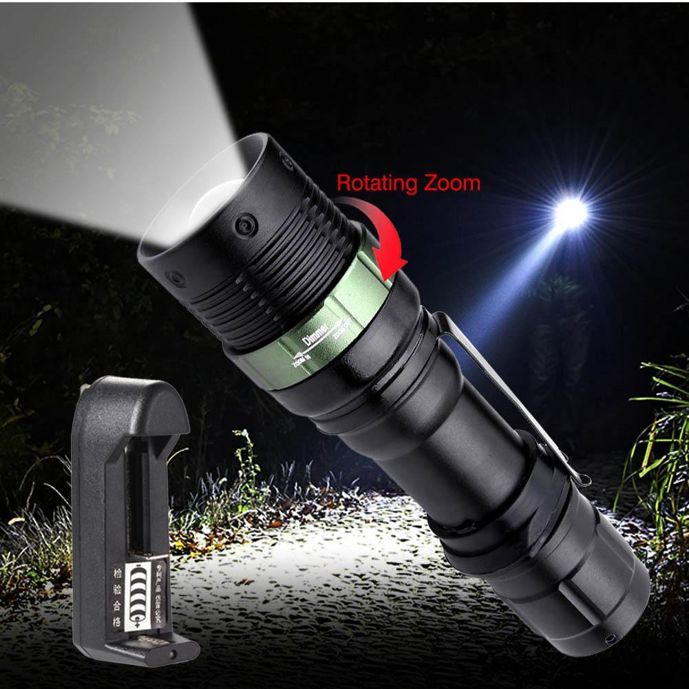Waterproof Zoom T6 LED Flashlight 3 Modes Torch With Wrist Strap + 3.7v Universal Li-ion Battery Charger US Plug EH