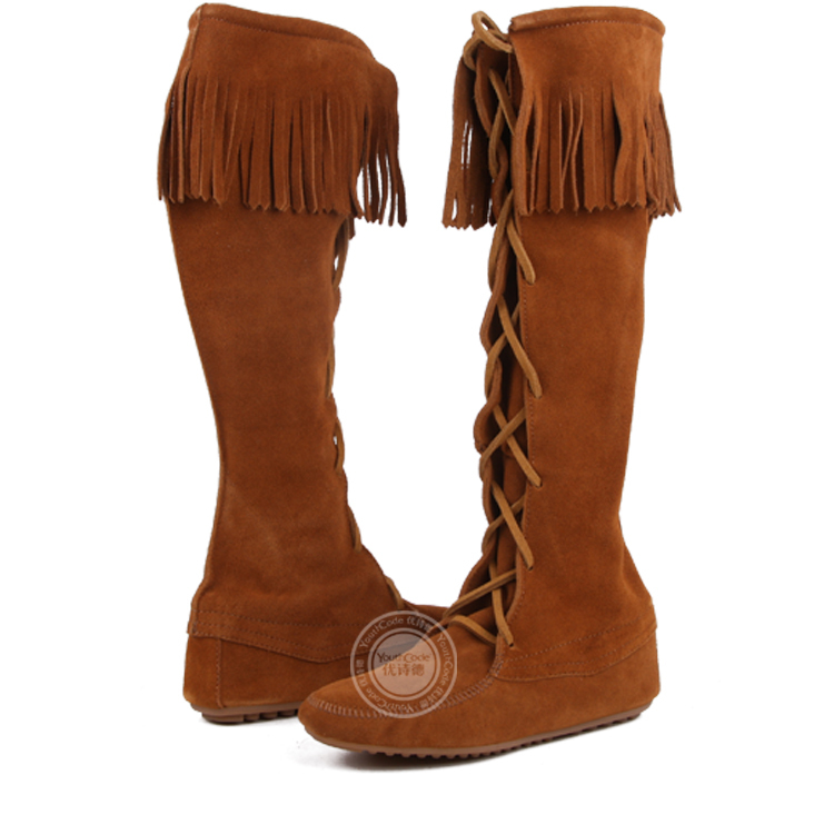 325e514074e9 Moccasin Tall boots Fashion Boho Flat Fringed Faux Suede Ankle Boots Booties  Oxfords Moccasin 4 Colors-in Knee-High Boots from Shoes on Aliexpress.com  ...