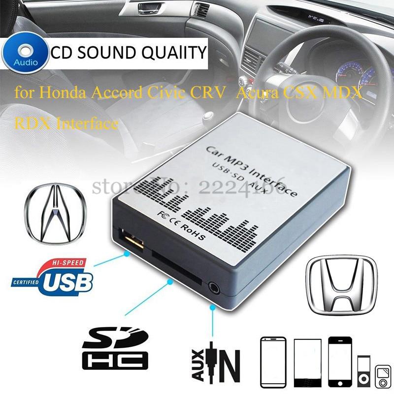 imágenes para Envío libre del USB SD AUX MP3 Adaptador de música para Honda Civic CRV Accord Acura CSX MDX RDX Interfaz, Simple instalación. partes de automóviles