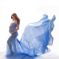 New Maternity Photography Prop Pregnancy Cloth Cotton Chiffon Maternity Off Shoulder Half Circle Gown Photo Shoot Pregnant Dress