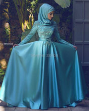 Long Sleeve Blue Satin Elegant Hijab Muslim Evening Dress with Lace Appliques Formal Party Gown Robe de soiree