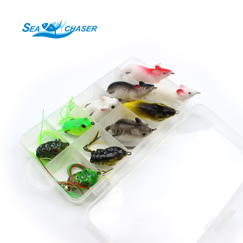 2017 NUEVO 10pcs 10 colores Topwater Frog and Mouse Hollow Body Soft - Pescando - foto 1