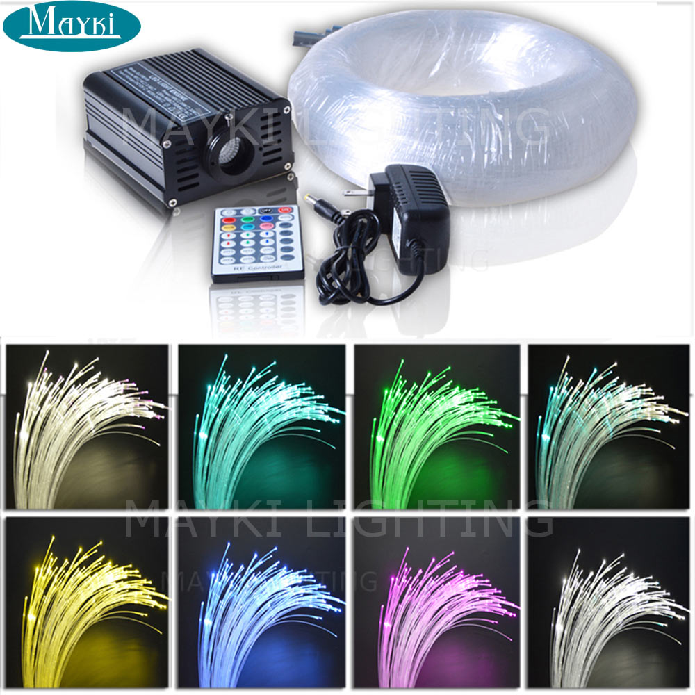 Maykit 16w RGB Colors Changing Fiber Optic Engine With 160pcs Mixed PMMA Fibers Size At 3m For Nightlight Bedroom Decoration