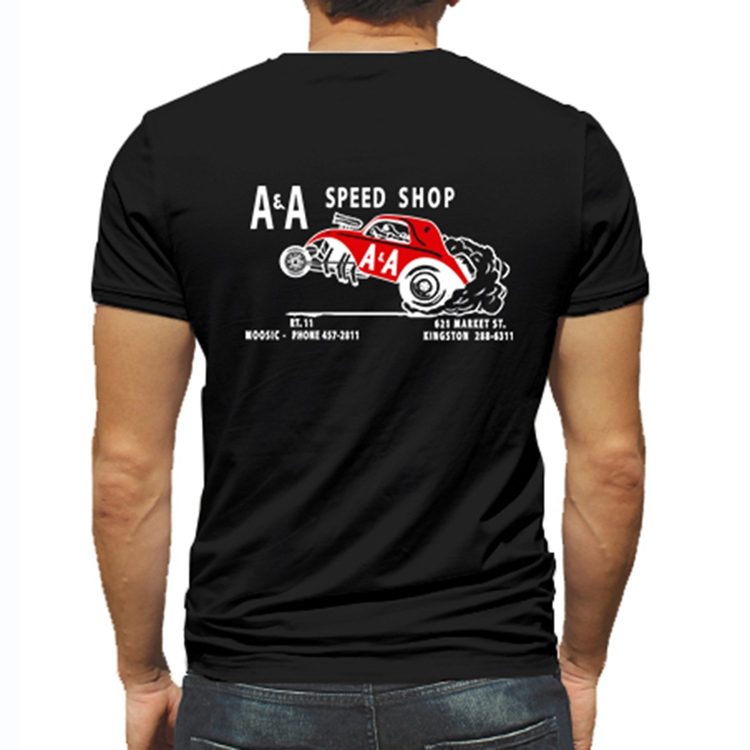 2018 New Summer Style Men Tee Shirt A&A Speed Shop Hot Rod Rat Nostalgia Drag Race Rac Black Short Sleeve Shirt