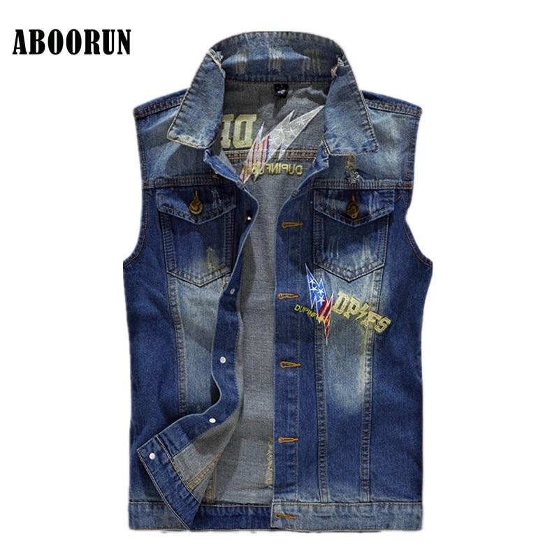 ABOORUN Korean Mens Skinny Denim Vest Retro Patchwork Jeans Waistcoat Mens Casual Sleeve ...