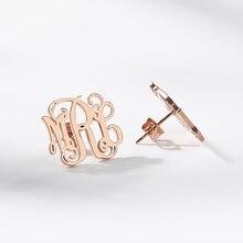 Custom Earrings Initials Monogram Stainless Steel Personalized Name Earring Bijoux Femme Boho Jewelry Women Bridesmaid Brincos