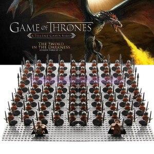 Image 1 - 21 pçs/lote Game of Thrones Guarda Real Legoed Exército Minifigured Playmobil Cavaleiro Medieval Soldados Militares Blocos De Construção De Brinquedos