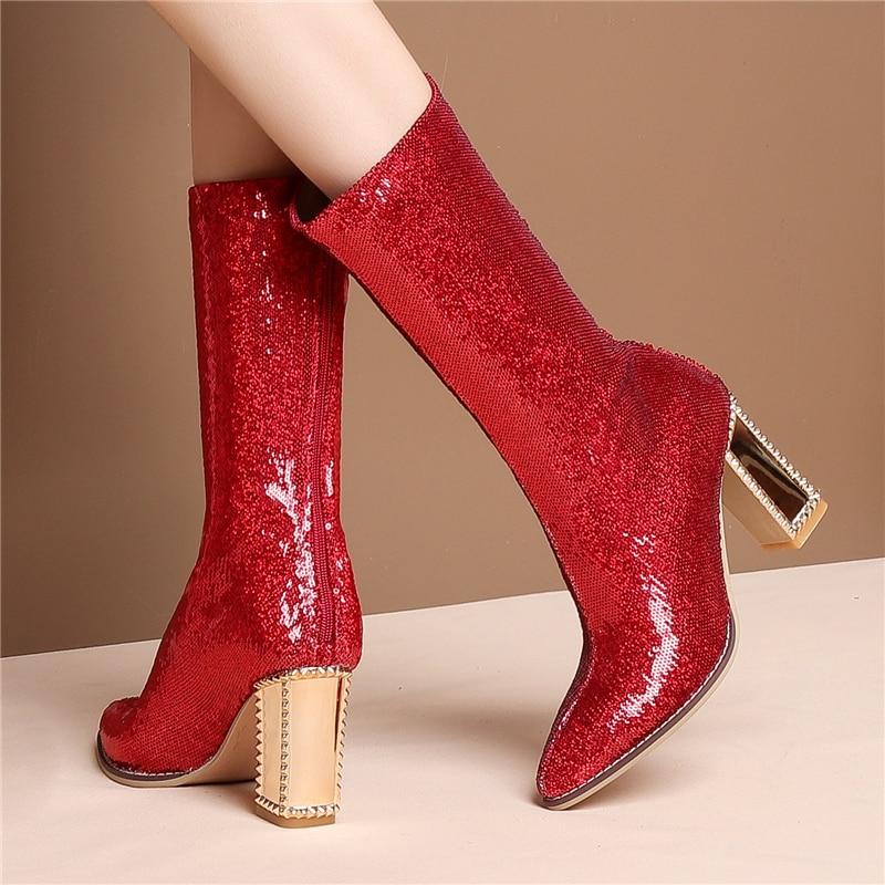 In Heels Heel plush Schuhe Frauen Gold Stylesowner Königlichen Bling Spitz High Stiefel Pailletten rot Dünne plush Partei Metall In Zipper Winter 04wqw6Rx