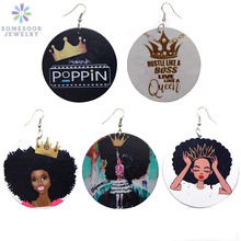 SOMESOOR Wholesale Printed Stronger Black Woman Wood Drop Earrings Afro Queen Crown Poppin African Dangle Jewelry For Lady Girl
